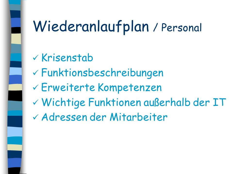 Wiederanlaufplan / Personal