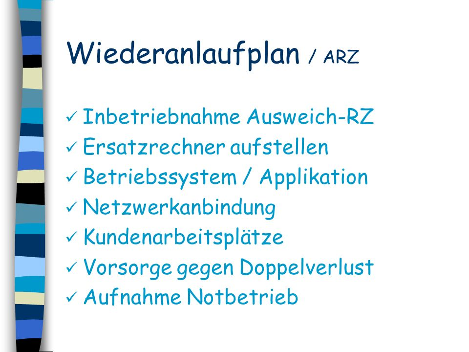 Wiederanlaufplan / ARZ