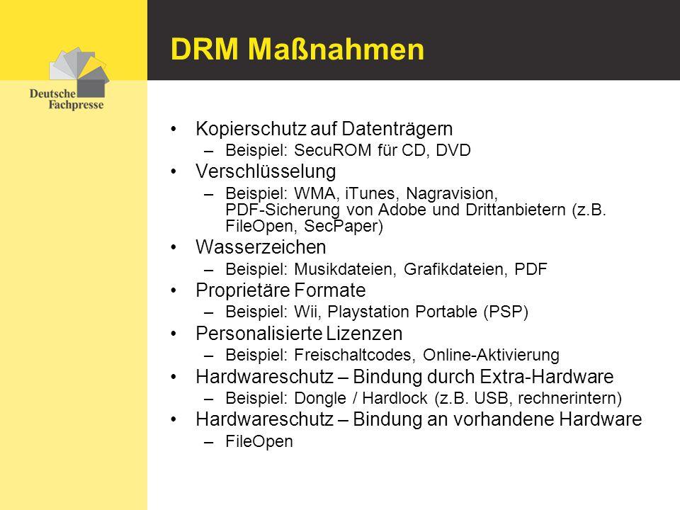 DRM Maßnahmen Kopierschutz auf Datenträgern Verschlüsselung