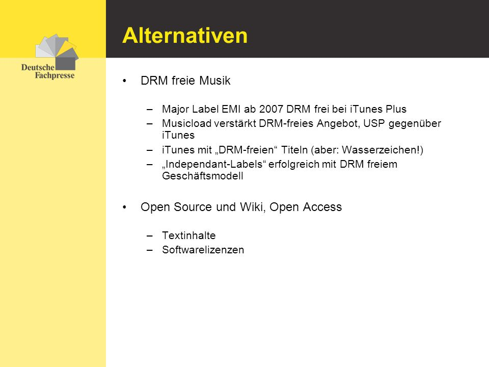 Alternativen DRM freie Musik Open Source und Wiki, Open Access
