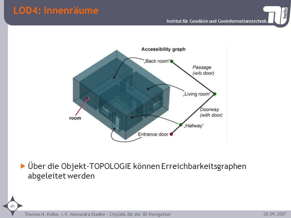LOD4: Innenräume Über die Objekt-TOPOLOGIE können Erreichbarkeitsgraphen abgeleitet werden.