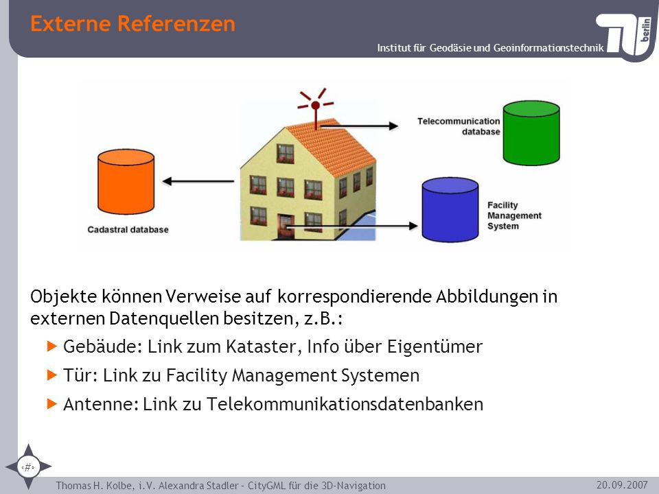 Externe Referenzen Objekte können Verweise auf korrespondierende Abbildungen in externen Datenquellen besitzen, z.B.:
