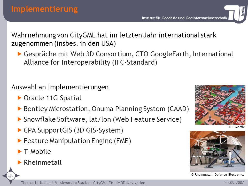 Implementierung Wahrnehmung von CityGML hat im letzten Jahr international stark zugenommen (insbes. in den USA)
