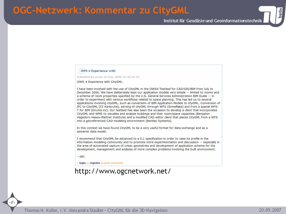 OGC-Netzwerk: Kommentar zu CityGML