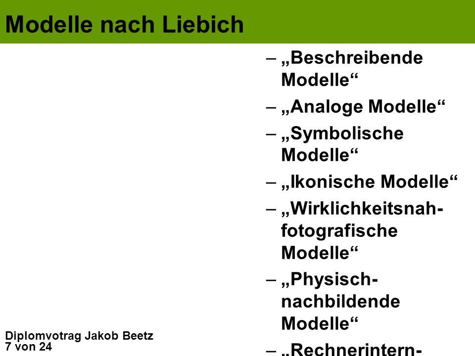 """Modelle nach Liebich """"Beschreibende Modelle """"Analoge Modelle"""