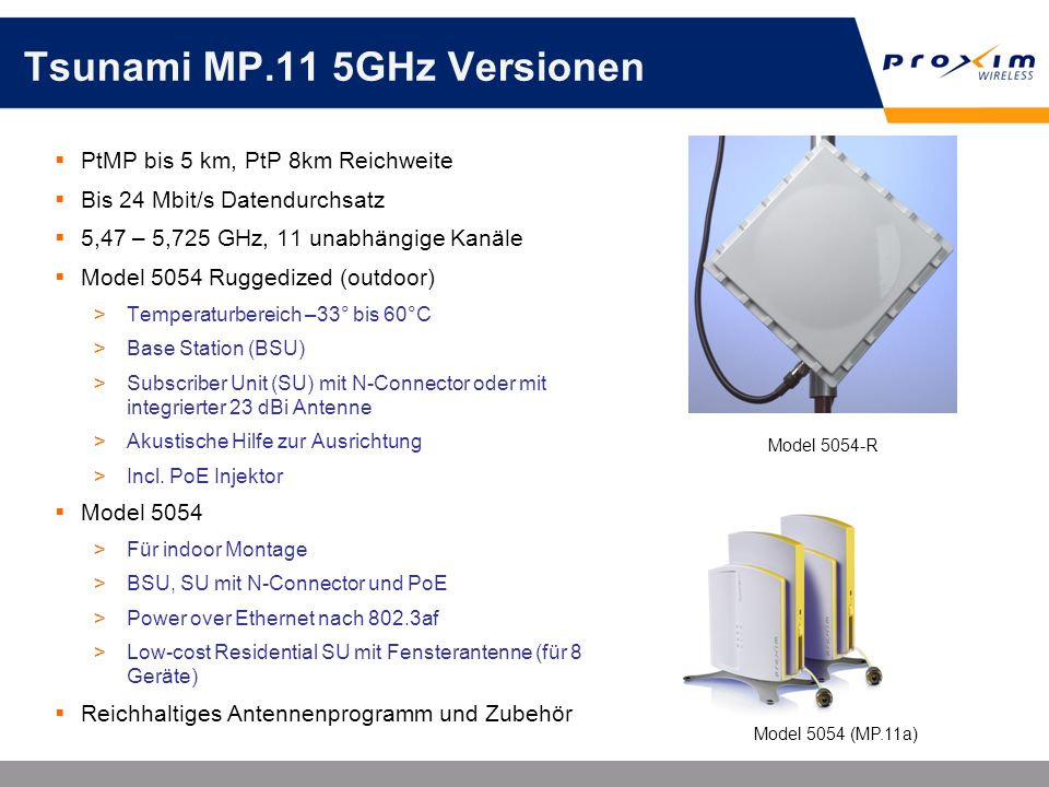 Tsunami MP.11 5GHz Versionen