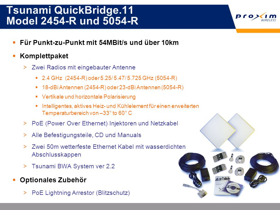 Tsunami QuickBridge.11 Model 2454-R und 5054-R