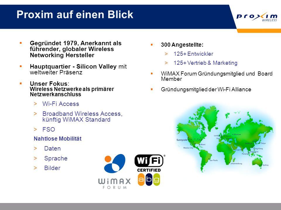 Proxim auf einen Blick 300 Angestellte: 125+ Entwickler. 125+ Vertrieb & Marketing. WiMAX Forum Gründungsmitglied und Board Member.