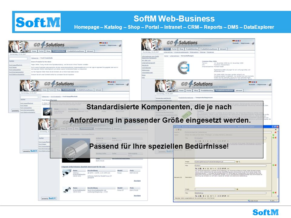 SoftM Web-Business Homepage – Katalog – Shop – Portal – Intranet – CRM – Reports – DMS – DataExplorer
