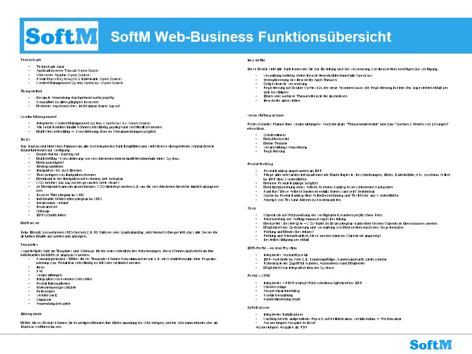 SoftM Web-Business Funktionsübersicht