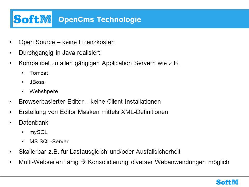 OpenCms Technologie Open Source – keine Lizenzkosten