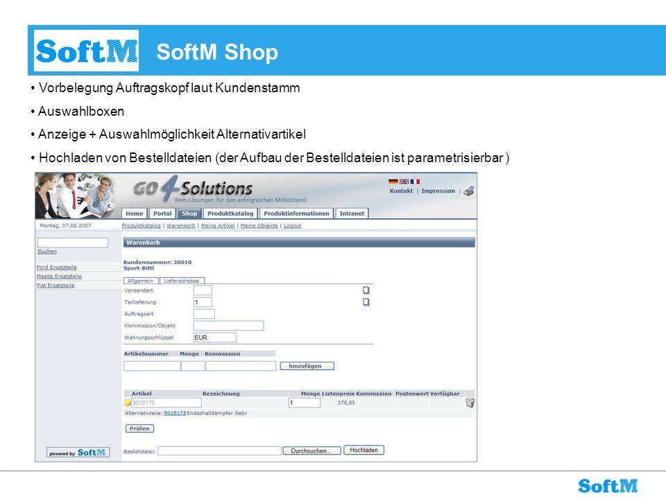 SoftM Shop Vorbelegung Auftragskopf laut Kundenstamm Auswahlboxen
