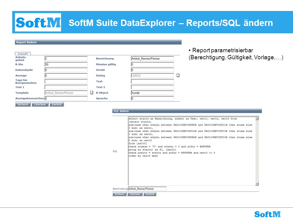 SoftM Suite DataExplorer – Reports/SQL ändern