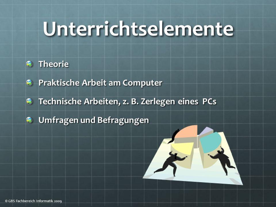 Unterrichtselemente Theorie Praktische Arbeit am Computer