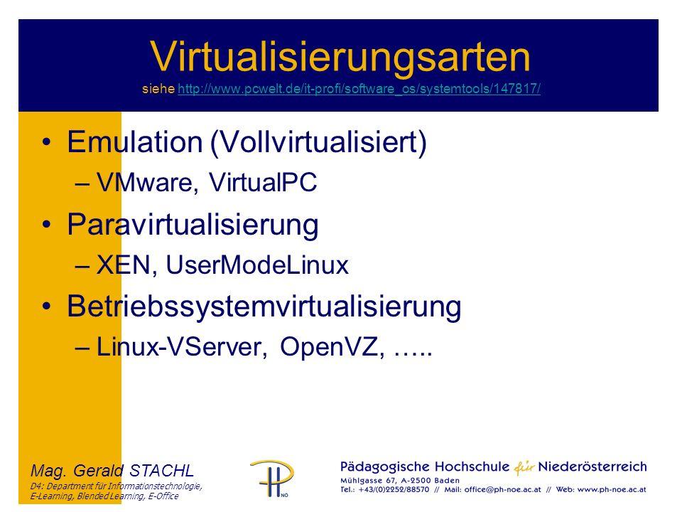 Virtualisierungsarten siehe http://www. pcwelt