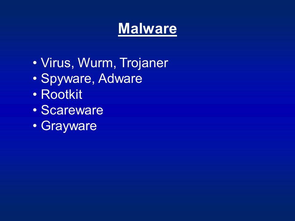 Malware Virus, Wurm, Trojaner Spyware, Adware Rootkit Scareware