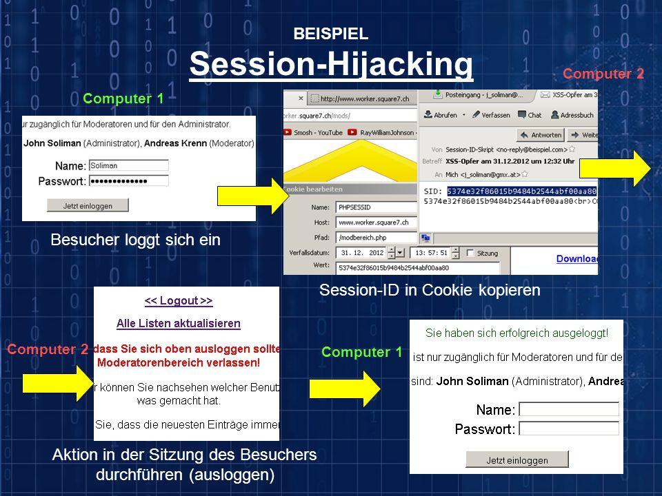 Session-Hijacking BEISPIEL Besucher loggt sich ein