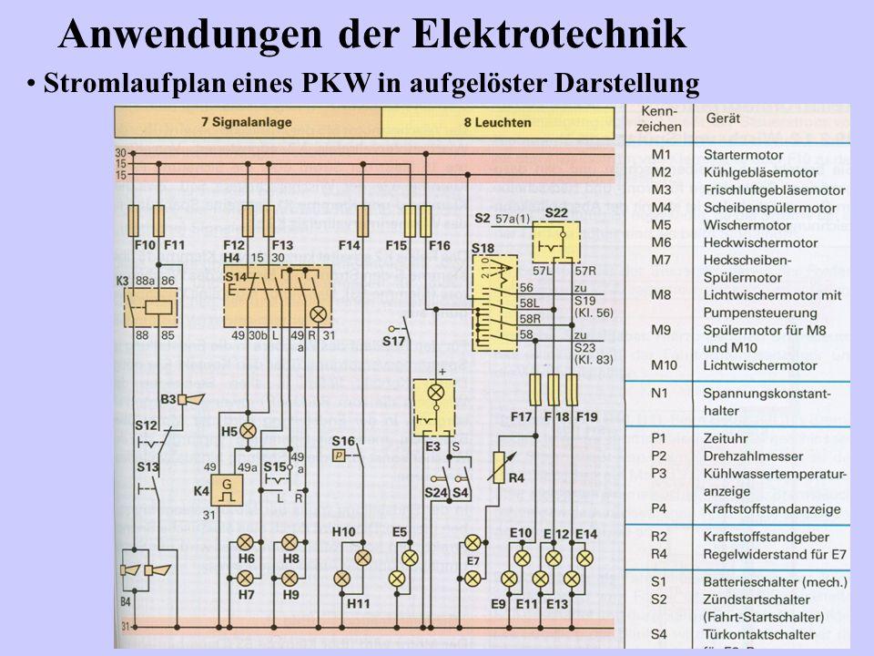Stromlaufplan eines PKW in aufgelöster Darstellung