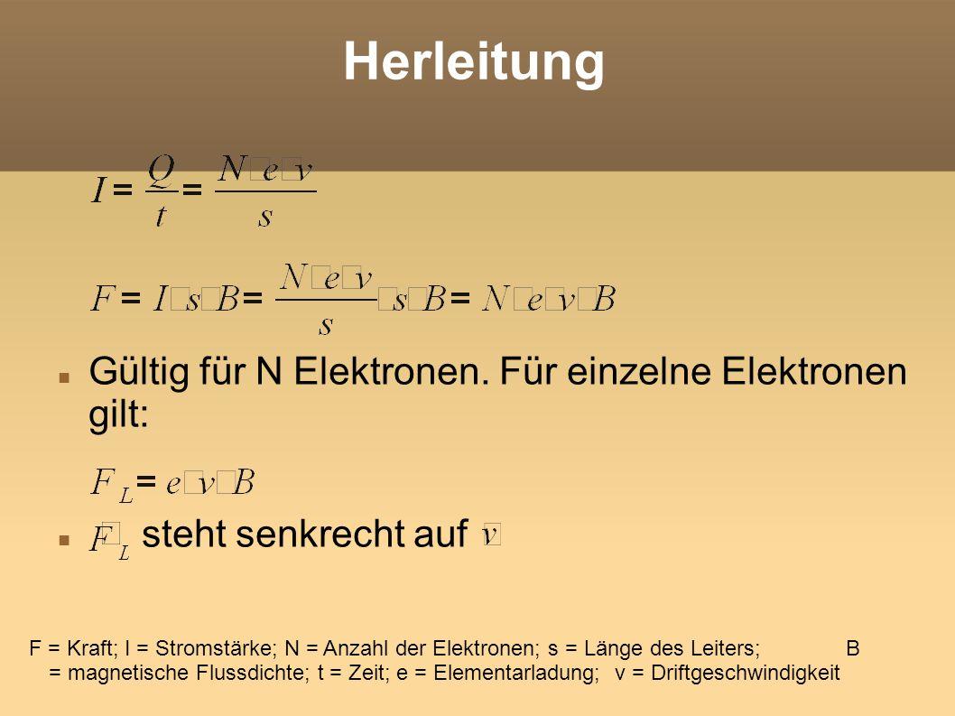 Herleitung Gültig für N Elektronen. Für einzelne Elektronen gilt: