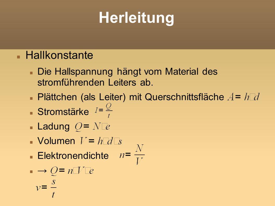 Herleitung Hallkonstante