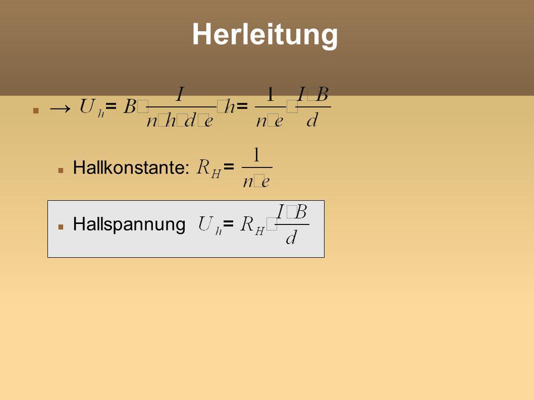 Herleitung → Hallkonstante: Hallspannung