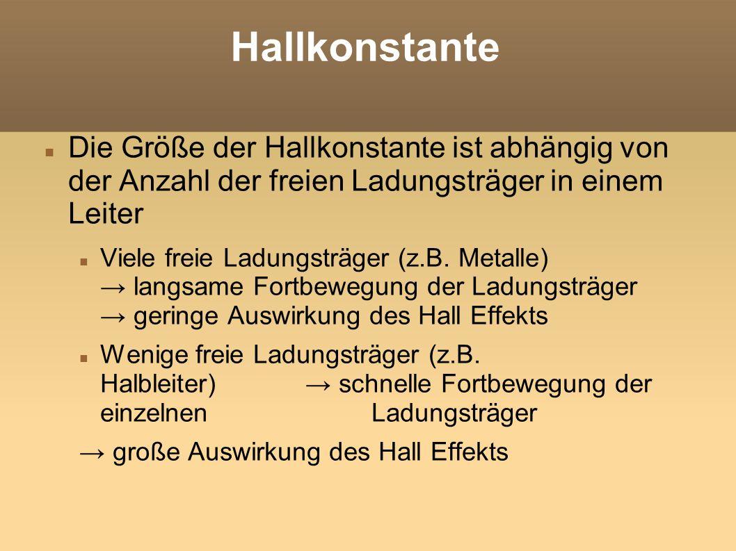 Hallkonstante Die Größe der Hallkonstante ist abhängig von der Anzahl der freien Ladungsträger in einem Leiter.