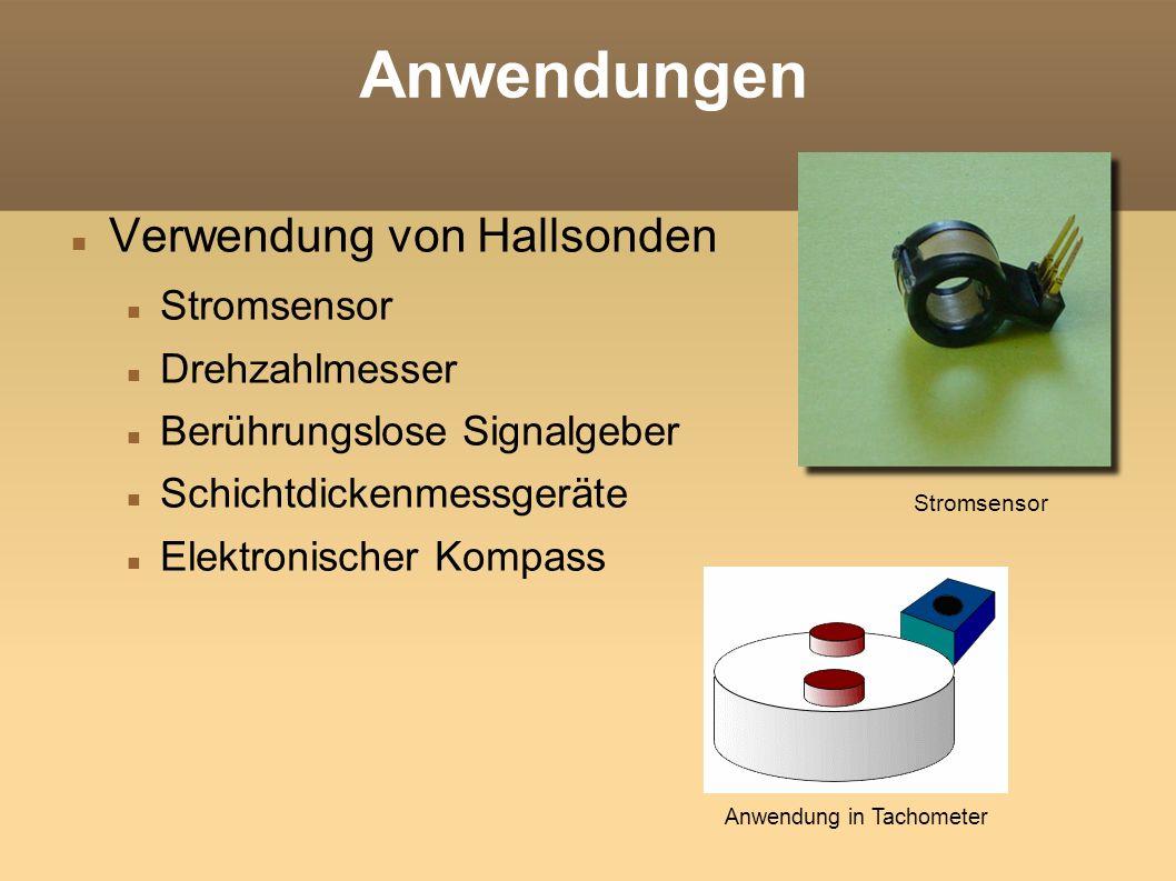 Anwendungen Verwendung von Hallsonden Stromsensor Drehzahlmesser