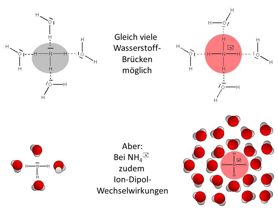 Gleich viele Wasserstoff- Brücken möglich Aber: Bei NH4+ zudem Ion-Dipol- Wechselwirkungen