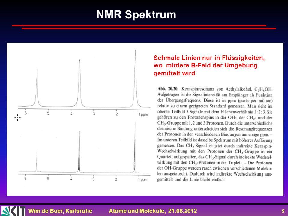 NMR Spektrum Schmale Linien nur in Flüssigkeiten,