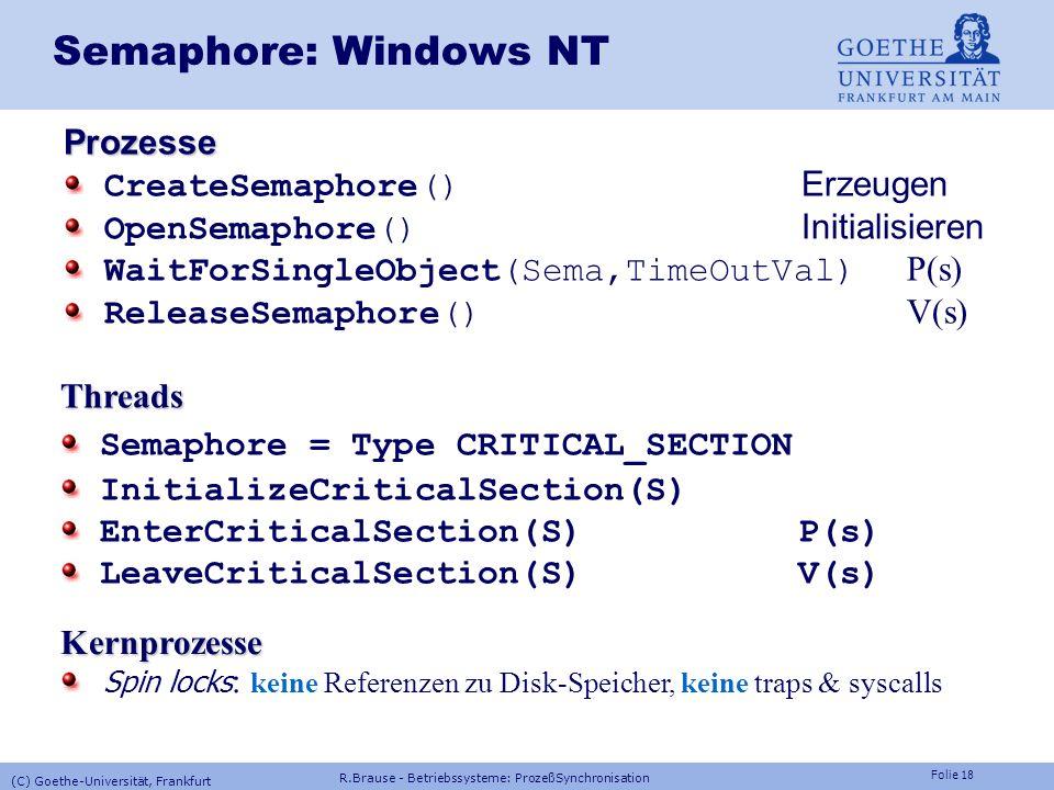 Semaphore: Windows NT Prozesse CreateSemaphore() Erzeugen