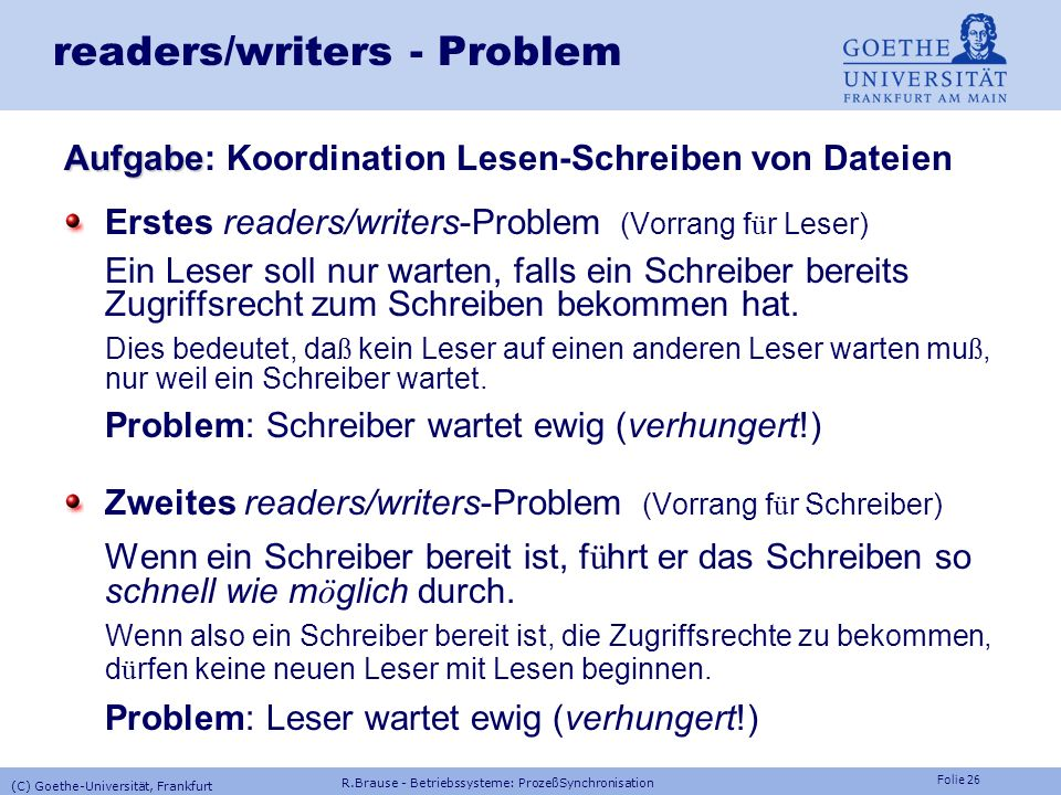 readers/writers - Problem