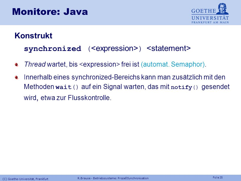 Monitore: Java Konstrukt