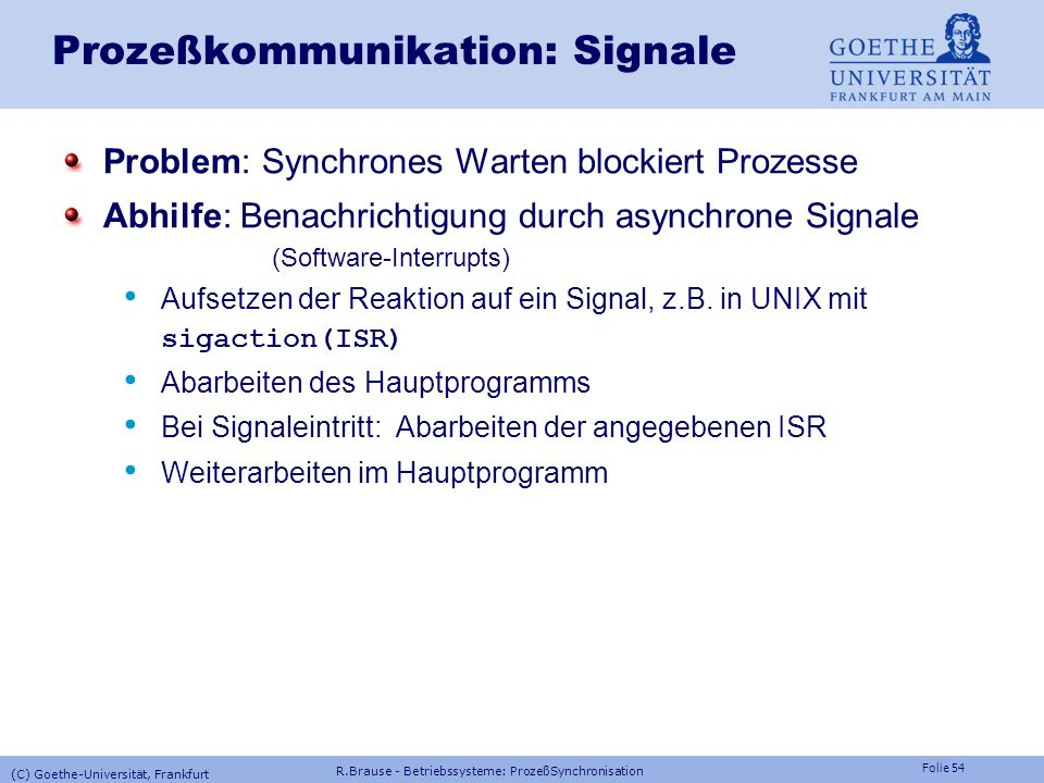 Prozeßkommunikation: Signale