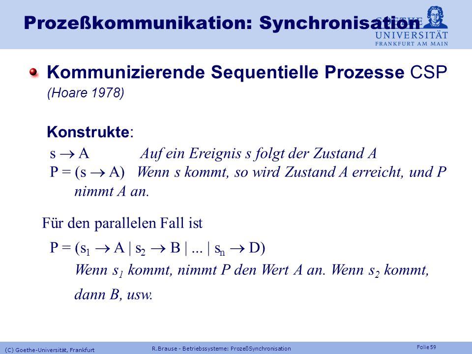 Prozeßkommunikation: Synchronisation