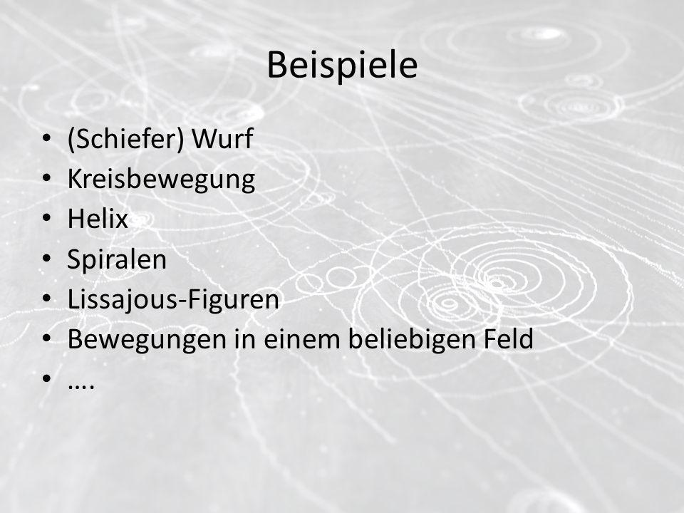 Beispiele (Schiefer) Wurf Kreisbewegung Helix Spiralen