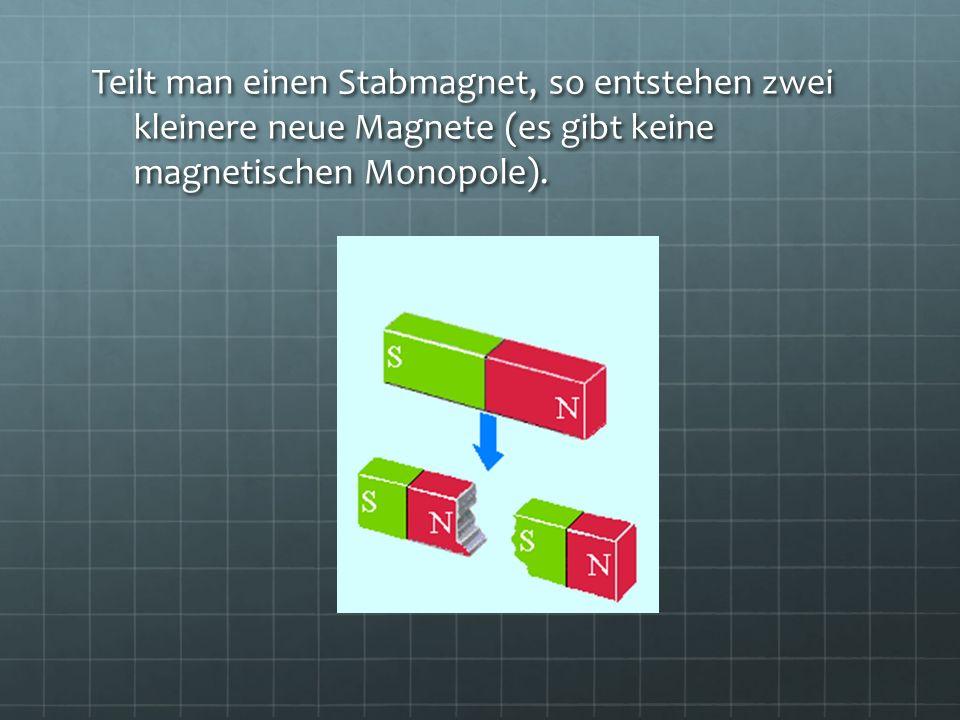 Teilt man einen Stabmagnet, so entstehen zwei kleinere neue Magnete (es gibt keine magnetischen Monopole).