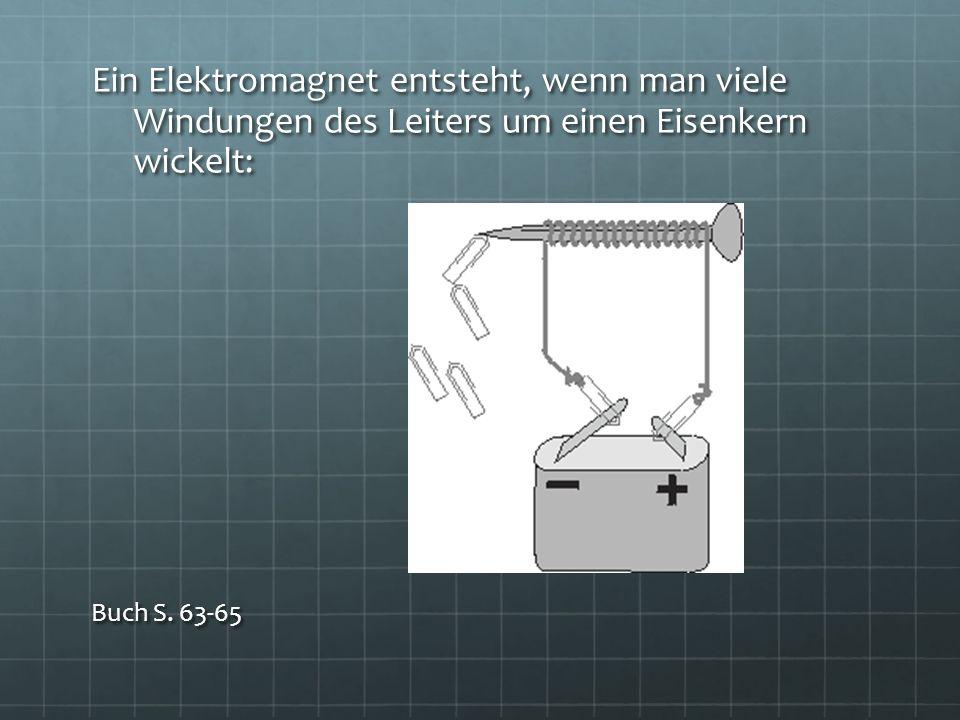 Ein Elektromagnet entsteht, wenn man viele Windungen des Leiters um einen Eisenkern wickelt: