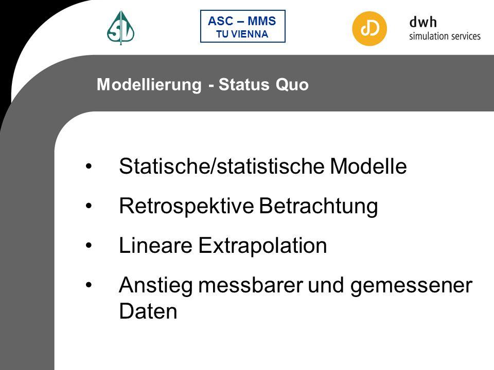 Statische/statistische Modelle Retrospektive Betrachtung