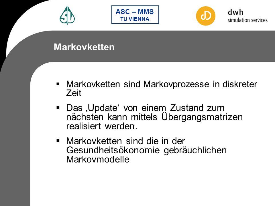 Markovketten Markovketten sind Markovprozesse in diskreter Zeit.