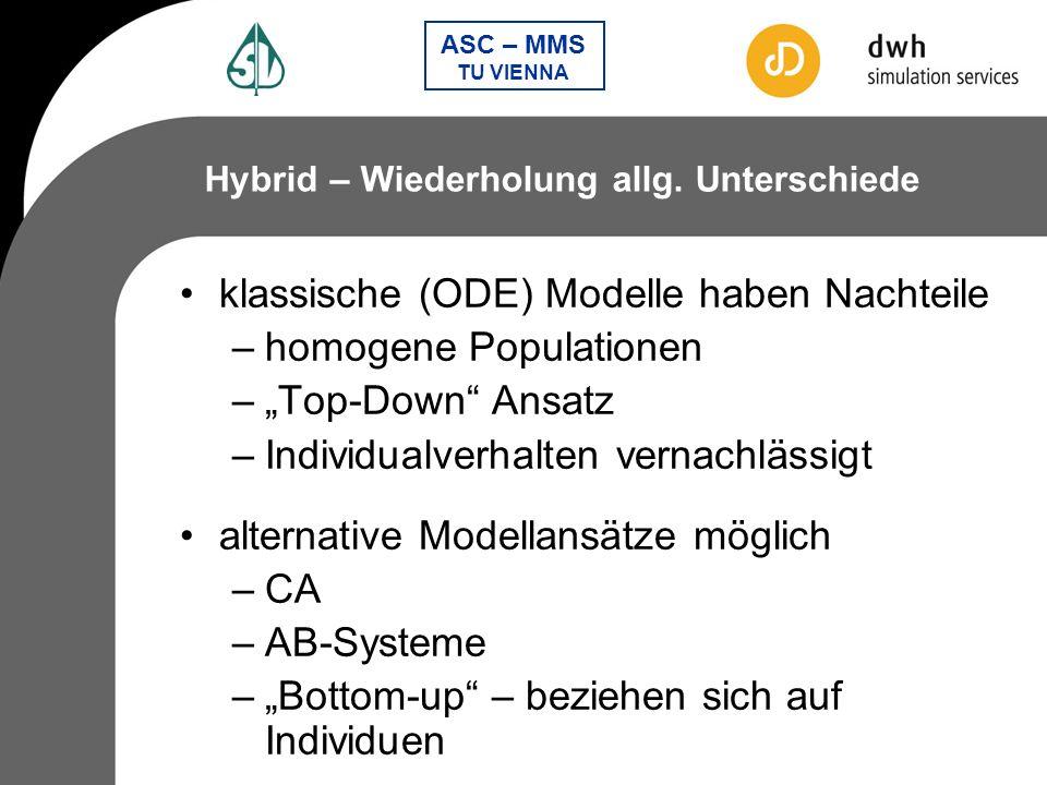 klassische (ODE) Modelle haben Nachteile homogene Populationen