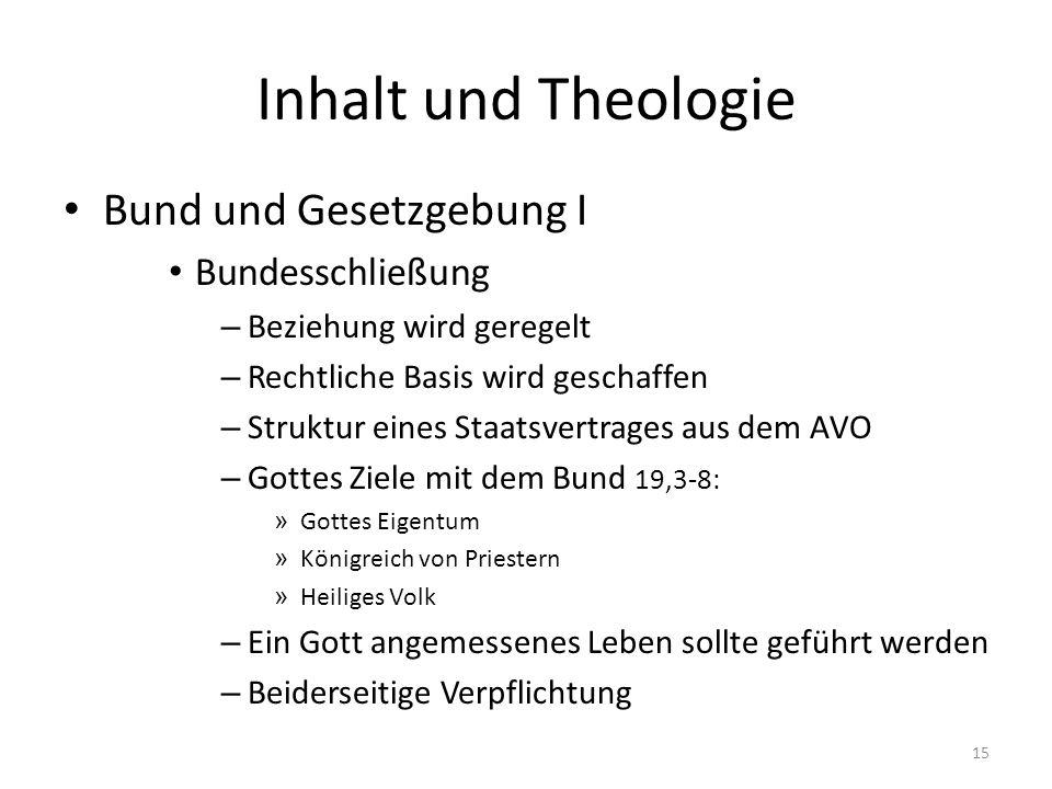 Inhalt und Theologie Bund und Gesetzgebung I Bundesschließung