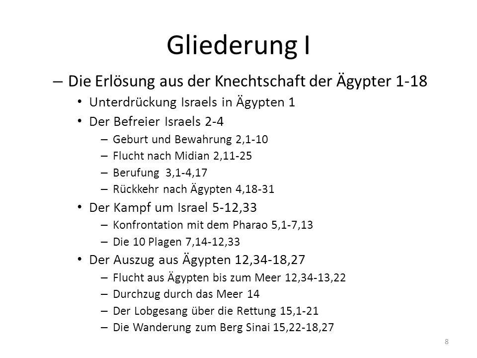 Gliederung I Die Erlösung aus der Knechtschaft der Ägypter 1-18
