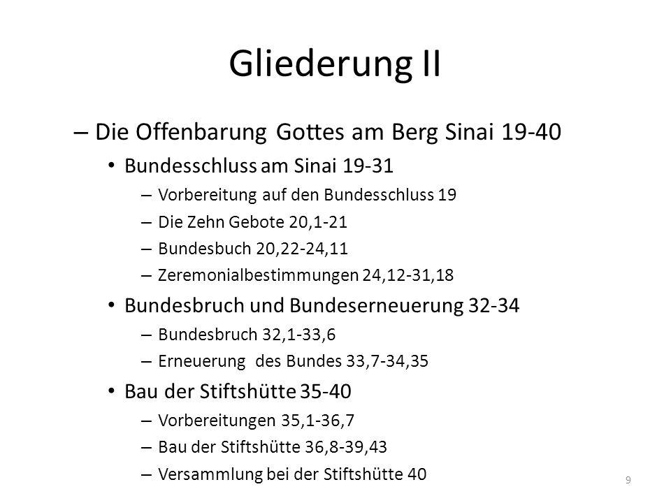 Gliederung II Die Offenbarung Gottes am Berg Sinai 19-40