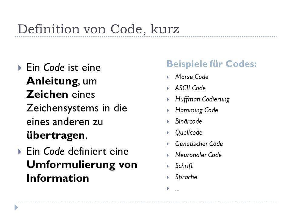 Definition von Code, kurz