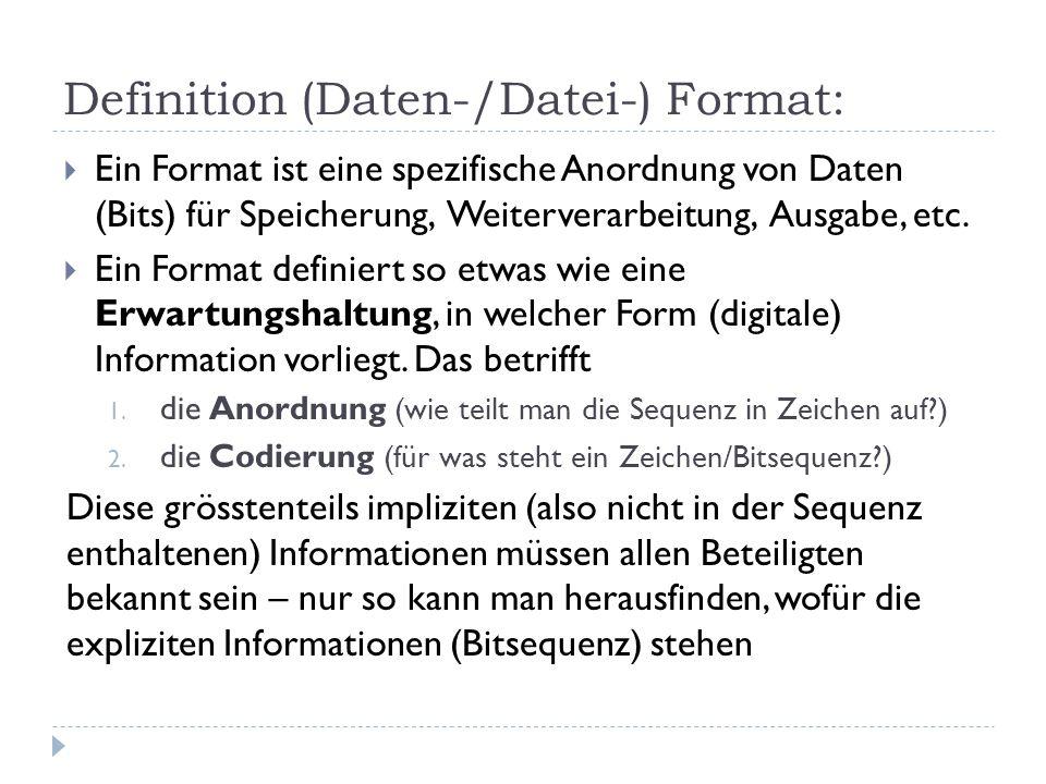 Definition (Daten-/Datei-) Format: