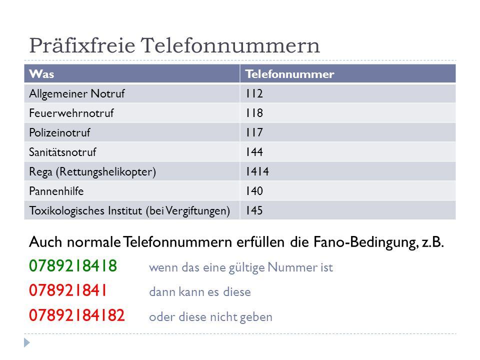Präfixfreie Telefonnummern
