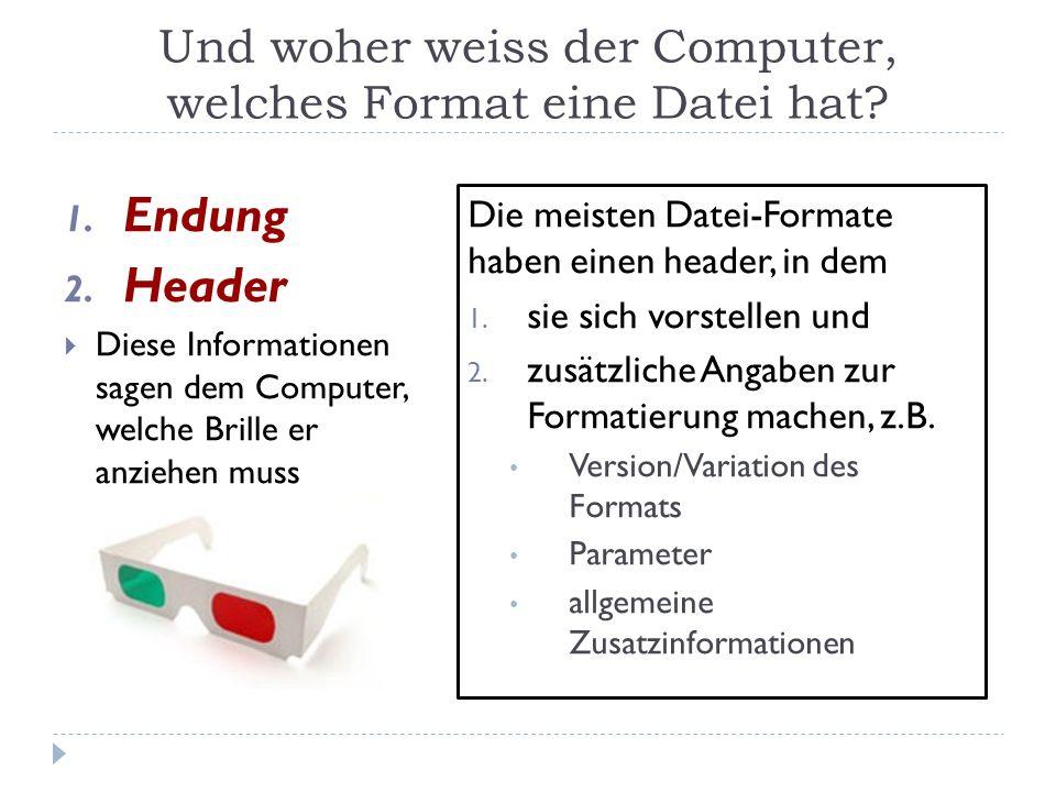 Und woher weiss der Computer, welches Format eine Datei hat