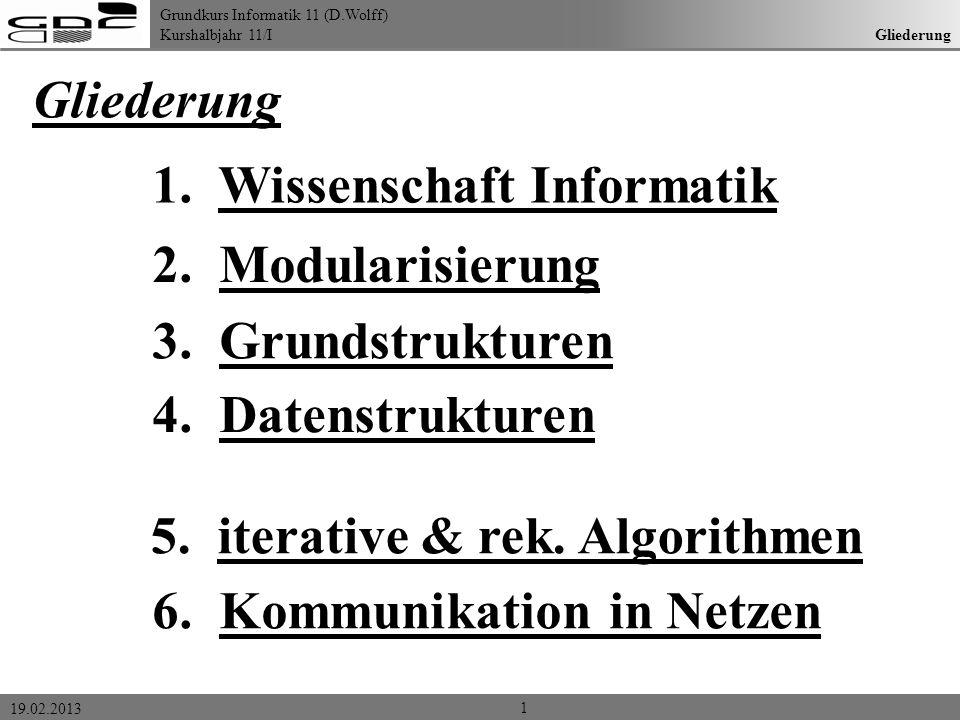 1. Wissenschaft Informatik 2. Modularisierung 3. Grundstrukturen