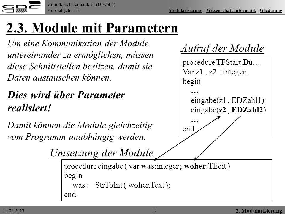 2.3. Module mit Parametern Aufruf der Module