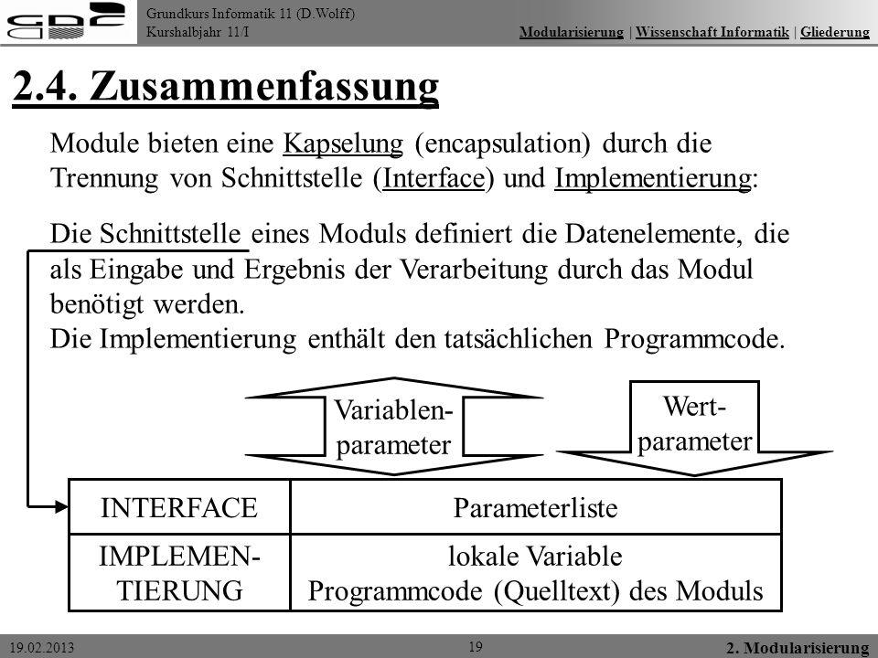 Programmcode (Quelltext) des Moduls
